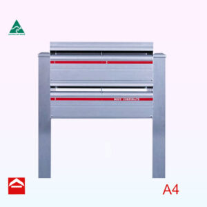Front of Bank of 4 rear opening rectangular letterboxes on 65x65x 1500mm high square aluminium posts