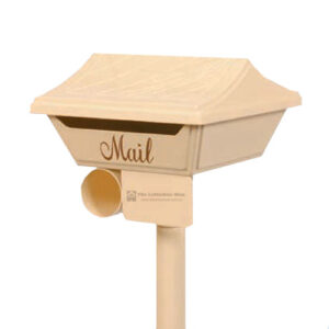 Square Gumleaf top opening letterbox with criss-cross gumleaf roof 315mm wide x 315mm x 175mm high