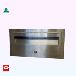 Image of a stainless steel front plate with hinged door and key lock with a galvanised sleeve and end closure behind
