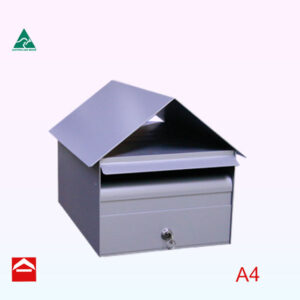 Image of the A4 Alicia front opening rectangular box with gable roof 285mm wide x 370mm deep x 275mm high. Lockable.