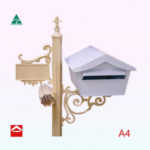 A4 Alpine letterbox rear open mounted on a deluxe post.