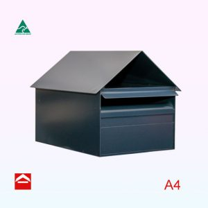 Front view of the Altona rear opening A4 rectangular letterbox 285mm wide x 370mm x deep x 275 high with gable roof.