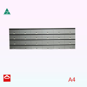 Front view of Bank of 24 Front open rectangular letterboxes. Individual mailbox 350mm wide x 250mm deep x 175mm high