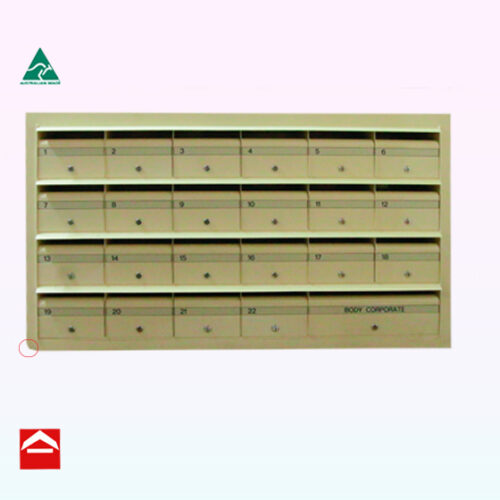 Front view of Bank of 24 front open letterboxes with surround