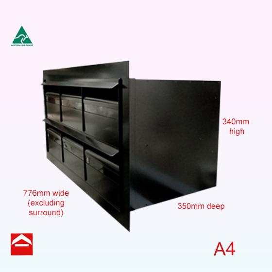 Bank of 6 rear open 3wx2h narrow front and deep boxes with a 40mm angle surround flush with front