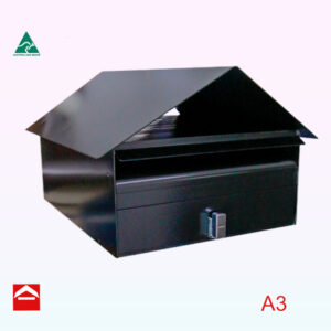 Front of Bellevue front opening rectangular letterbox 410mm wide x 545mm* high x 280mm deep *to the apex of the roof
