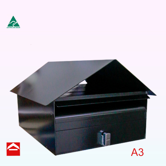 A3 front opening rectangular letterbox. 350mm wide x 450mm dee x 175mm high plus the roof which can hold newspapers.