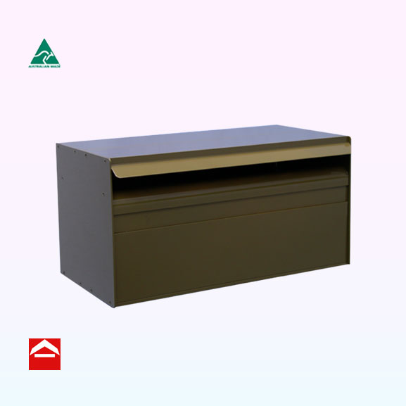 Rectangular letterbox for Besser block. 390mm wide x 200mm deep x 200mm high. Bessie rear opening.