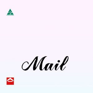Black mail sticker in cursive font