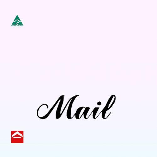Black mail sticker in cursive font