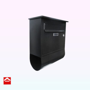 Mild steel front opening letterbox with newspaper holder below. This is an imported product.