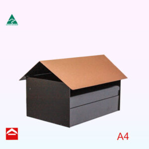 Angled view Bungalow rear opening rectangular letterbox 350mm wide x 250mm deep x 175mm high with a gable roof.