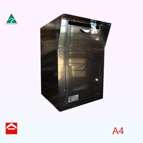 Front view of large mail/parcel chest with chute, 400w x 600h x 400d