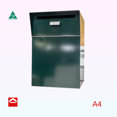 Rear open mail parcel chest with chute at front like Australia Post letterboxes
