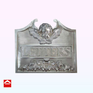 Solid cast brass front mail plate with an ornate letterbox slot and angel face at the top plated satin chrome