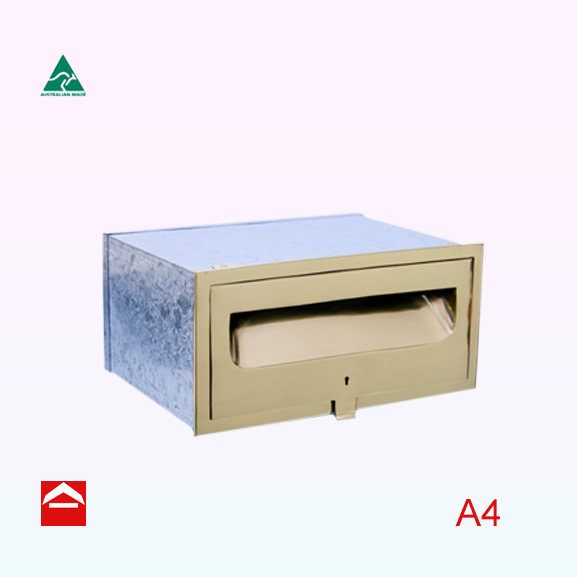 This is an image of polished brass front plate with mail slot and keylock door. Assembled behind the front plate is a galvanized fixed size sleeve with end enclosure