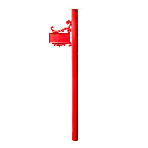This is an example of a 63mm diameter round post with a number plate and scroll work. It has a header plate and is 1100mm high. This example is powder coated Flame Red