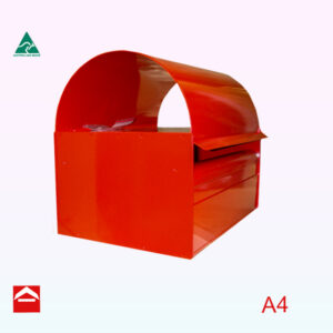Angled view of Dome rear opening letterboxes. 350mm wide x 175mm high (+ roof), 250mm deepImage of a rectangular box that takes A4 mail and has a dome roof. 350w x 175h x 250d