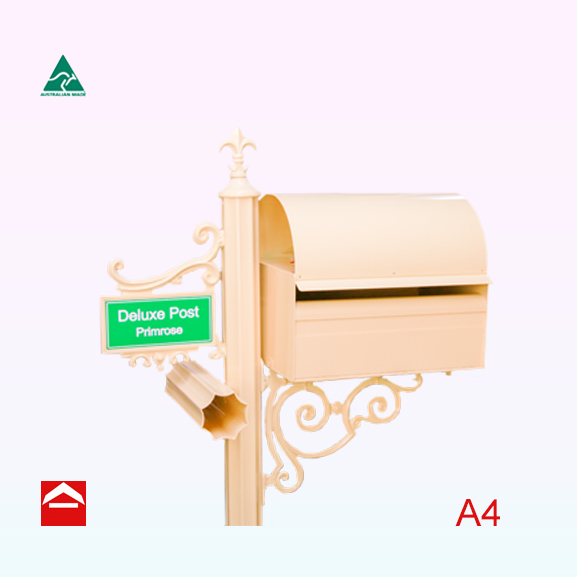 A4 rectangular letterbox rear open with a dome roof mounted on a scroll bracket to the right of a central 65mm fluted post. Atop the post is a fleur de lys. To the left of the central post is a small scroll with number plate and newspaper holder.