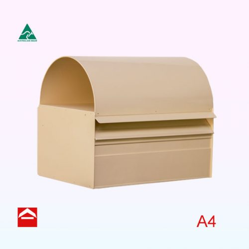 Rear open A4 letterbox with a dome roof and weather flap. 350mm wide x 250mm deep x 175mm high (excluding roof)
