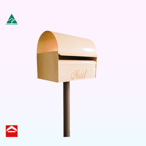 Front of Dome rear open rectangular letterbox with Gully 50mm post
