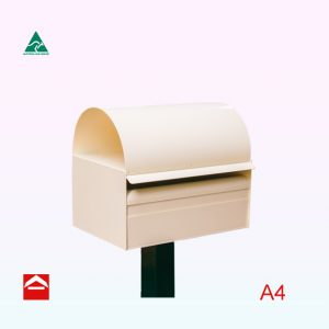 Rear open A4 sized letterbox with a dome roof and a sleek square post.