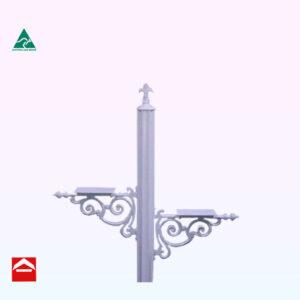 Image of a duplex letterbox post, 84mm central fluted post with fleur de lys atop and two letterbox mounting brackets with scroll work, one each side of the central post.