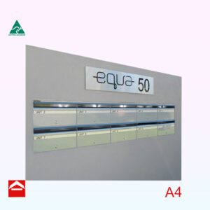 10 Aluminium Front open mailboxes with a stainless steel sign above.
