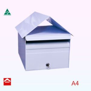 Front of Farndale front opening rectangular letterbox 285mm wide x 370mm deep x 300mm high — to the apex of the roof