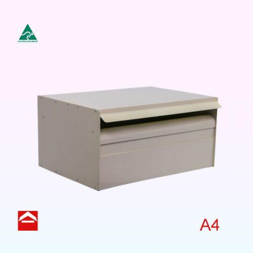 Rectangular letterbox 350mm wide x 250mm deep x 175mm high. Rear open