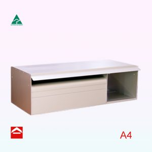 Floria rear opening rectangular letterbox A4 mail section and newspaper section to the right side