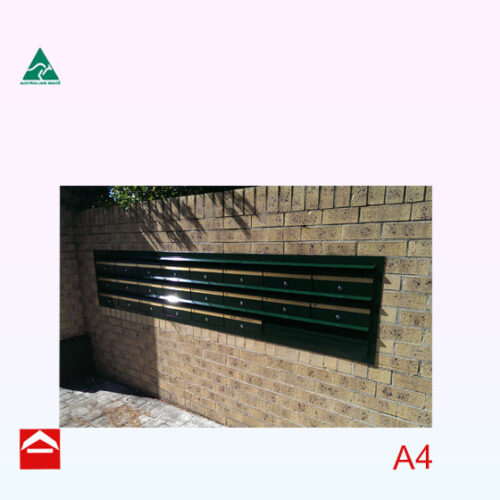 Image of a bank of front open letterboxes with flush mounted with flange and a double parcel area.