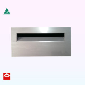 Image of a stainless steel front plate with mail slot 410mm wide x 220mm high suitable for a besser block sized aluminium mailbox behind