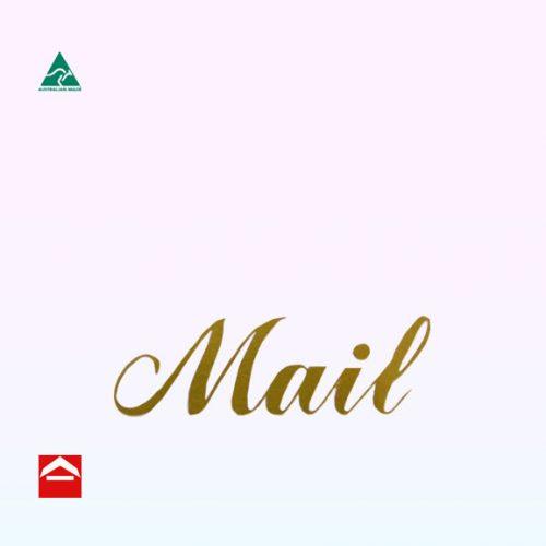 Gold mail sticker in cursive font