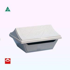 Cast aluminium square Gumleaf top opening letterbox with leaf design on raised roof. Lockable