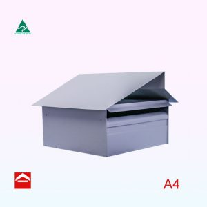 A4 square Hampton Rear Opening Aluminium letterbox 350mm wide x 350mm deep with an architectural style roof.