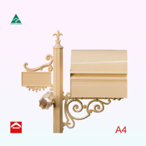Front of Dome rear opening rectangular letterbox with 65mm fluted post