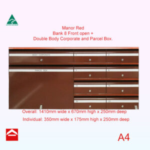 Front view of Bank of 8 individual letterboxes plus one double body corporate and a parcel box front opening bank. 1410mm wide x 670mm high x 250mm deep