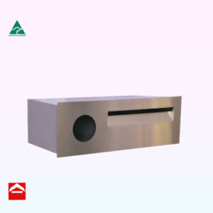 Stainless steel front plate with mail slot and newspaper holder to right with aluminium lockable box behind. Suitable for besser block.