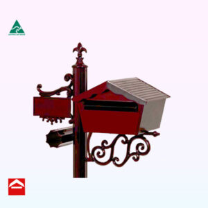 Front of Medieval chalet rear opening rectangular letterbox. 340mm wide x 315mm deep x 245mm high mounted on a Deluxe postRear open Chalet letterbox mounted on a bracket on the right of a central fluted post with number plate and newspaper holder to the left