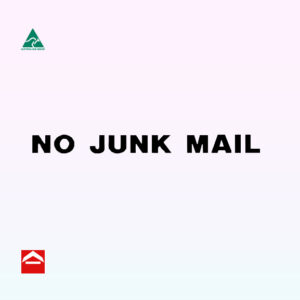 No Junk mail sticker 115mm wide x 9mm high. Comes in Black and gold