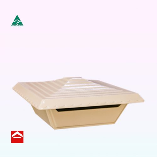 Square Noble top opening letterbox with tiered roof.