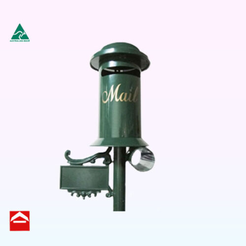 Front view PillarTop opening cylindrical letterbox