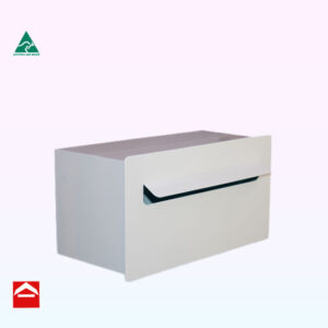 Front view of the Valerie-Helena rear opening rectangular letterbox 390mm wide x 200mm high x 200mm deeplate with fold out mail slot.