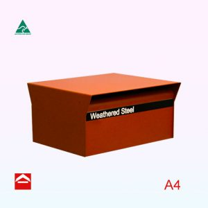 Ruben Rear Opening Aluminium rectangular letterbox in landscape orientation with a hood over the front and rear - 350w x 295d x 175h