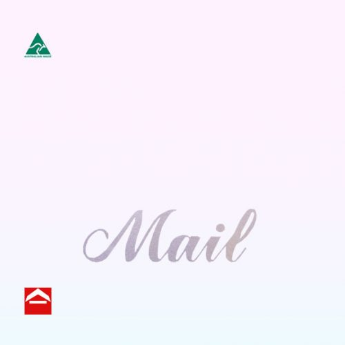 Silver Mail Sticker in cursive font