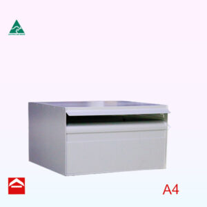 Image of the right side opening letterbox from the left side view. A4 lockable with door on the right side. 350mm wide x 175mm high x 300m deep.