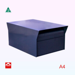 Front view of Thea rear opening rectangular letterbox. 250mm wide x 390mmd deep x 170mmhigh