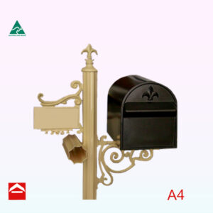 Treasure rear open A4 letterbox on a Deluxe post.