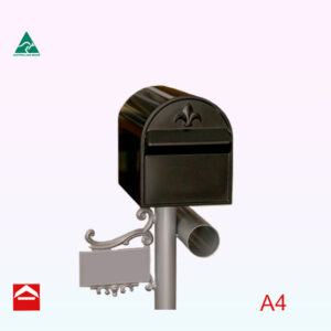 Treasure rear open A4 letterbox on a Royale Post.